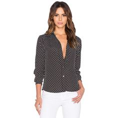 Marc by Marc Jacobs Viscose Polka Dot Blouse Tops (€300) ❤ liked on Polyvore featuring tops, blouses, marc by marc jacobs blouse, button front blouse, black blouse, polka dot blouse and black polka dot top