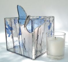 Blue and white stained glass candle holder by Nostalgianmore, #CGGE