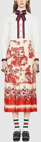 Cotton Poplin Ruffle Shirt & Printed Skirt