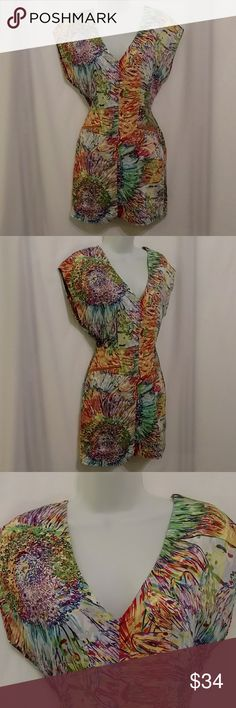 """🆕Ark & Co Watercolor Sunflower Burst Dress Beautiful watercolor sunflower burst colorful abstract cotton dress by Ark & Co. Soft as silk in 100% cotton & fully lined.  Falls off the shoulder with slitrosd sleeves, v-neckline with two exposed zipper pockets below the waist & exposed back zipper. Measurements: 17"""" across from armpit to armpit, 14"""" across at waist & 33"""" long from shoulder to hem. Gently worn in great preowned condition! Bright vivid colors!  SIZE SMALL Ark & Co Dresses"""