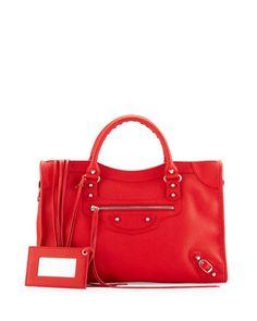 Classic+City+Calfskin+Shoulder+Bag,+Red+by+Balenciaga+at+Neiman+Marcus.