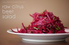 This Raw Citrus Beet Salad is a gorgeous, bright, incrediblyeasy to make super food side dish and will even have non-beet lovers asking for more.