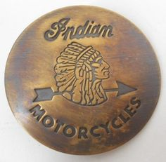 BRASS INDIAN MOTORCYCLES BADGE PIN BACK EMBLEM LOGO DIE STRUCK OLD STYLE BIKER