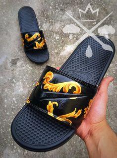 Nike Custom Black Supreme Benassi Swoosh Slide by DrippedCustomz Nike Sb, Nike Air Max, Ankle Sneakers, Slip On Sneakers, Leather Sneakers, Nike Flip Flops, Nike Slides, Nike Huarache, Sneaker Store