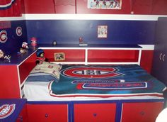 Nathan's Montreal Canadians bed   Ana White Diy Storage Twin Bed, Daybed With Storage, Bookshelf Plans, Desk Plans, Corner Twin Beds, Painting Plywood, Wide Bookcase, Captains Bed, Daughters Room