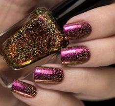 This holographic nail polish of violet, red, copper and gold duo-chrome will give you a look on your nails you won't forget. Fully opaque in coats! Collection: New Year 2015 Collection Mais French Nails Glitter, Metallic Nails, Fancy Nails, Love Nails, How To Do Nails, Fabulous Nails, Gorgeous Nails, Pretty Nails, Fun Lacquer