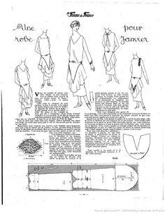 La Femme de France 1924 Sewing Patterns Free, Doll Patterns, Clothing Patterns, Free Sewing, Journal Vintage, Costume Tutorial, Vintage Dress Patterns, Costume Patterns, Art Deco Fashion
