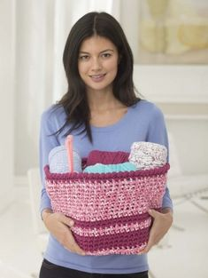This crochet basket is made with our recycled tshirt yarn, Fettuccini.  Make one or a bunch to hold your stash..