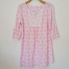 Carole Hochman Pink  amp  White Knit Short Nightgown Sz S Pretty Lace 3 4 b3fa3c4fe