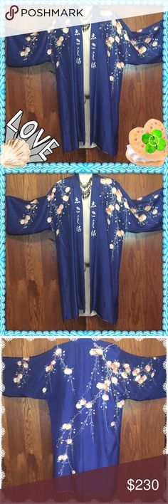 Vintage Boho kimono Jacket Gypsy Goth dress Hippie Vintage 1970s Floral Cherry blossoms on a beautiful peacock blue Japanese Kimono! This is a jacket & would make a bohemian dream Haori jacket lined  one size . Label made in Japan silk shell and silk lining.  Excellent condition!! .✨ Free People Jackets & Coats