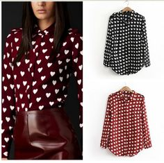 2014 New Spring Women Blouse  female love heart print shirt turn-down collar long-sleeve chiffon shirt