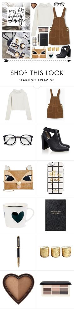"""""""sunday morning"""" by emyemoemu ❤ liked on Polyvore featuring Haider Ackermann, Senso, Betsey Johnson, Kate Spade, Smythson, Parker, Illume, Too Faced Cosmetics, H&M and neutrals"""