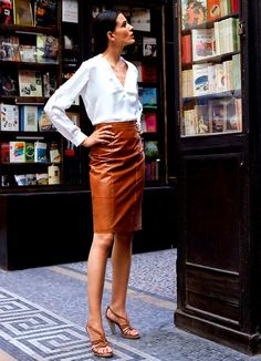 Colored Leather Skirts And How To Wear Them 2017 | tan leather ...