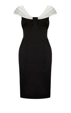 Karen Millen Colour Block Satin Dress Black and White ,fashion karen millen outlet