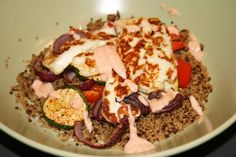 Halloumi with roasted veg quinoa and harissa yoghurt