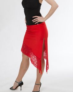 """Asymmetrical single layered skirt with lace bottom and front slit """"Red Rose"""" on Etsy, $139.99"""