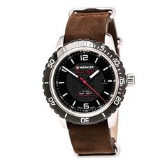Wenger Roadster Black Night Watch with Leather Strap, Men's