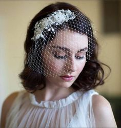 Birdcage veil with beaded lace and crystals - Vintage style Wedding Headpiece with veil - 1940s veil,  ivory or champagne