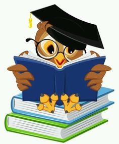 Owl Cartoon - Owl with School Books PNG Clipart Picture