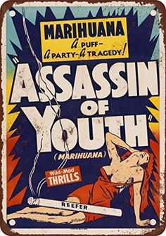 1937 Marijuana Assassin of Youth Vintage Look Reproduction Metal Signs 12X16 Inches *** Learn more by visiting the image link.Note:It is affiliate link to Amazon.