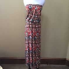 Arden B tribal print maxi dress Arden B strapless maxi dress with blouson waist. Gently used. Arden B Dresses Maxi