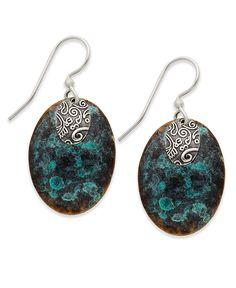 Jody Coyote Sterling Silver Earrings, Teal and Brown Patina Earrings - Earrings - Macy's