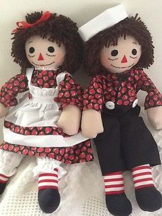 Handmade Raggedy Ann and Andy Dolls, brown haired, Valentine red heart print