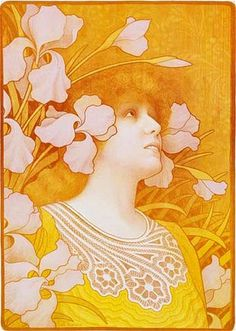 Some have been attributing this to Mucha, but it is actually a lithograph of Sarah Bernhardt by the artist Paul Berthon.