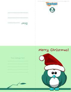 Christmas Owl (Printable Card for Kids) Pinned by www.myowlbarn.com