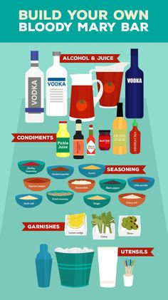 Bloody Mary Madness: Create Your Own Fully Stocked Bloody Mary Bar Bar Drinks, Cocktail Drinks, Yummy Drinks, Alcoholic Drinks, Beverages, Summer Cocktails, Drinks Alcohol, Alcohol Recipes, Cocktail Recipes