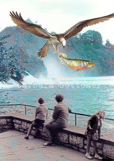 Collage-print  Fisch-Sightseeing von busy bee auf DaWanda.com
