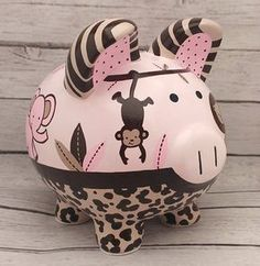 Jungle Leopard Print Personalized Piggy bank in Pink and Brown with Lion, Giraffe, Monkey and Elephant Personalized Piggy Bank, Pig Drawing, Piggy Banks, Cute Pigs, Porcelain Ceramics, Fall Halloween, Creative Inspiration, Baby Gifts, Decoupage