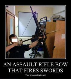 Rifle, arco, espada