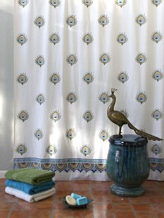 Ivory Peacock Feather Print India Shower Curtain