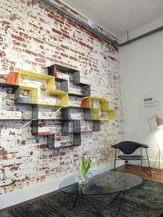 book storage / distressed brick / living room / book shelf/ modern room / design
