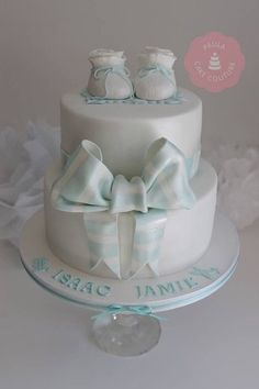 Baby Boys Baptism Cake - by Paulacakecouture @ CakesDecor.com - cake decorating website