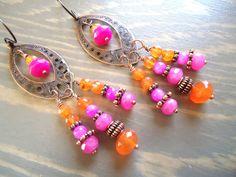 SALE Colorful Earrings Chandelier Earrings Boho by BijouxFan
