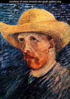 Self Portrait With Straw Hat II - Vincent Van Gogh - www.vincent-van-gogh-gallery.org