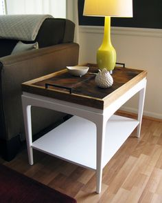 White Lacquer and Reclaimed Wood Side Table with Removable Cowhide Tray (shown without tray) | $600