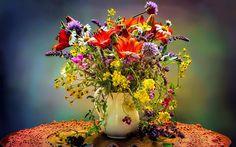 ваза, букет, цветы, ромашки, лилии, полевые цветы