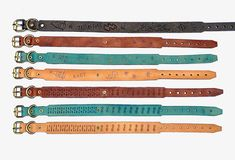 Our full collection of boho leather custom dog collars!  Hand tooled cool for your best dog friend.   SPOIL THEM Cool Dog Collars, Custom Dog Collars, Dog Collars & Leashes, Leather Dog Collars, Dog Training School, Dog Training Classes, Dog School, Collar And Leash, Dog Supplies