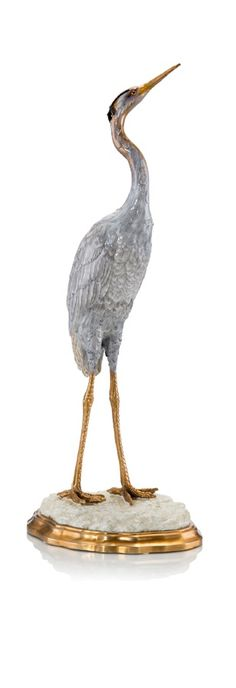 Posed Crane Statue by John-Richard Collection at Neiman Marcus Hollywood, Housewarming Gifts For Men, Luxury Wedding Gifts, Luxury Gifts For Women, Modern Tropical, Decoration Table, Inspirational Gifts, Crane, Poses