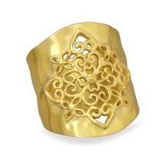 Hammered Gold Tone with Heart Filigree Design Fashion Cigar Band Ring, 9 Hammered Gold, Brass, Cigar Band, Celebrity Jewelry, Filigree Design, Gold Plated Rings, Art Deco Ring, Size 10 Rings, Gold Bands