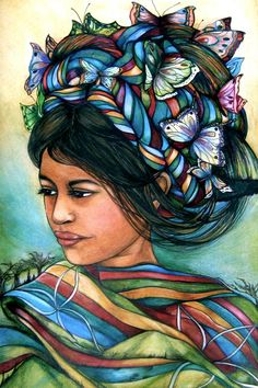 Maria and the butterflies , from pastel-crayon  by Claudia Tremblay.  An Art Print