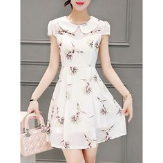 Doll Collar Printed Chiffon Skater Dress ($37) ❤ liked on Polyvore featuring dresses, white dresses, white day dress, doll dress, white collar dress and baby doll dress
