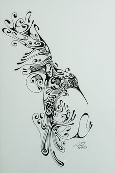 Stylized ink drawing of hummingbird