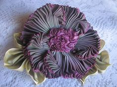Vintage Style French Ombre Millinery Ribbon Flower Pin~Ribbon work~Corsage