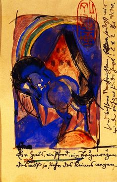 Franz Marc, Horse, House, and Rainbow (postcard)