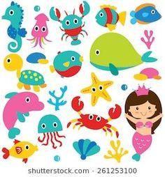 Cute sea animals clip art set stock illustration - illustration of Cute Animal Clipart, Cute Animal Memes, Cute Animal Videos, Art Drawings For Kids, Cute Animal Drawings, Free Vector Graphics, Free Vector Art, Mermaid Vector, Adobe Illustrator