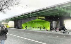Architects unveil designs for activating empty space under Brooklyn-Queens Expressway with food trucks or a sports complex